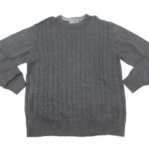 Oscar de la Renta 2XL Gray Crewneck Sweater  Cotto